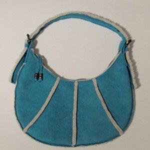 Handbags - Turquoise Suede Small Zippered Purse